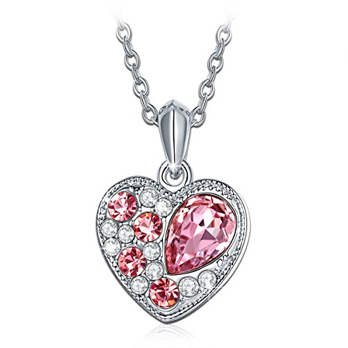 Qianse White Gold Plated Heart-Shape Pendant Made with Pink Swarovski Elements Crystal