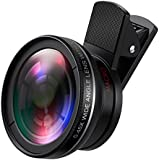 AMIR Phone Camera Lens, 0.45X Super Wide Angle Lens + 12.5X Macro Lens,  Clip-On 2 in 1 Professional HD Cell Phone Camera Lens Kit for iPhone 8, 7, 6s / 6 Plus / 5s, Samsung Galaxy & Smartphones