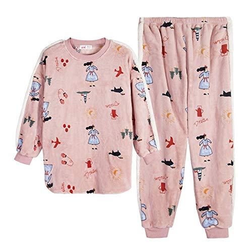 Traje Engrosamiento Manga Franela Larga Dibujos Coral Polvo Pijamas Invierno Terciopelo Ligero De Animados L Llrcazr Otoño Ropa Cálido Interior Zxq1Hfp