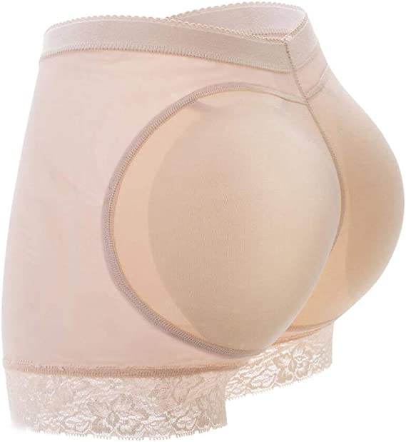 GloryLife Womens Fake Buttock Briefs Butt Lifter Padded Control Panties Hip Enhancer Underwear Shapewear L, Beige