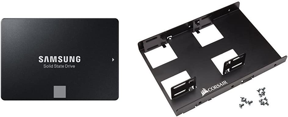 "Samsung 860 EVO 1TB 2.5 Inch SATA III Internal SSD (MZ-76E1T0B/AM) & Corsair Dual SSD Mounting Bracket 3.5"" Bundle"
