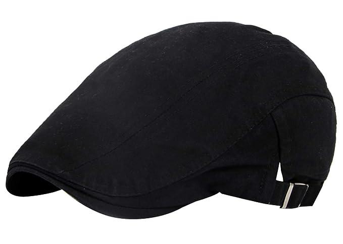 593e54c267332 AIEOE Men s Cotton Flat Cap Beret Ivy Gatsby Hat Newsboy Driver Hunting  Golf Cap Black
