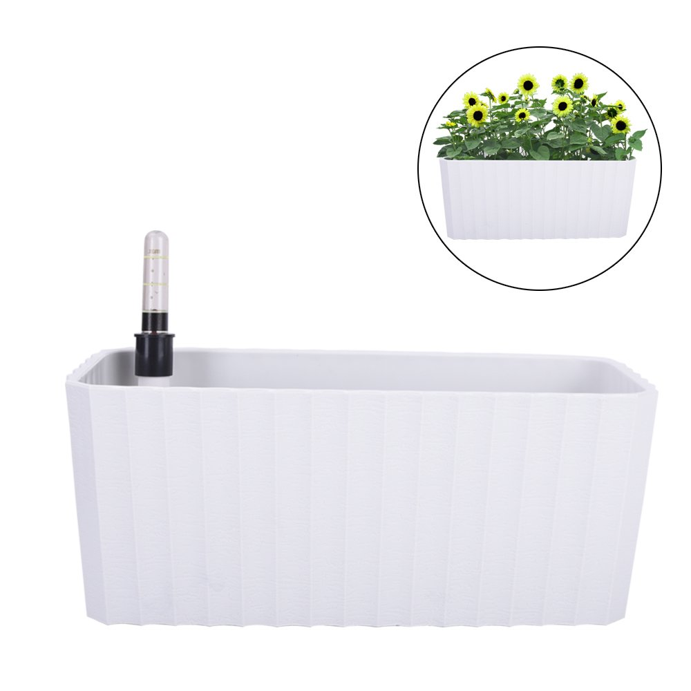 Vencer 11 Inch Plastic Rectangle Self Watering Planter,Water Indicator,Modern Decorative Planter Pot for All House Plants Flowers,Herbs,Vegetables,Tropical,White,VF-092