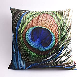 "Feather Pillow Cases peacock feather cushion covers square throw pillow 18""18"" (2)"