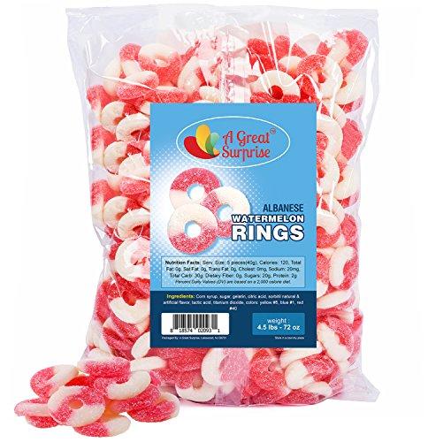 Gummy Candy - Gummi Watermelon Rings - Pink-White Gummies - Bulk Candy 4.5 LB