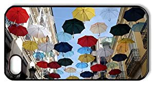 Hipster iPhone 4 case retro colorful umbrellas city street PC Black for Apple iPhone 4/4S