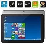 Chuwi Hi12 12 inch Windows 10 Tablet PC,Intel Cherry Trail Z8300 64bit Quad Core 1.44GHz 2160 x 1440 IPS Screen 4GB RAM 64GB ROM Bluetooth 4.0(Deep Gray)