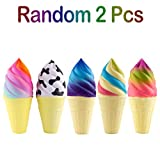 WATINC 2Pcs Food Squishies, Kawaii Ice Cream Scented Slow Rising squishy, Kid Toy, Lovely Toy,Stress Relief Toy,Decorations Toy Gift Fun (multicolor & black cream)