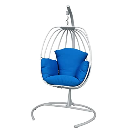 ART TO REAL Egg Shaped Hanging Swing Chair With C Stand, Outdoor Patio  Porch Hanging