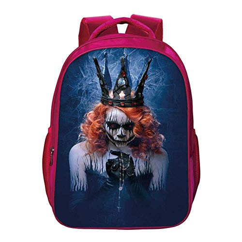 Queen Kids Bookbag,Queen of Death Scary Body Art Halloween Evil Face Bizarre Make Up Zombie for Kids Girls,11.8