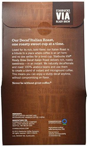 Starbucks VIA Ready Brew Coffee, Decaf Italian Roast, 3.3-Gram Packages (Pack of 50)