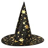 METFIT Witch Hat For Halloween Costume Accessory Stars Print Cap Adult Womens Mens