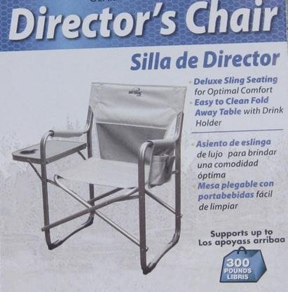 Natural Gear Directors Folding Chair with Side Table and Drink Holder - Holds 300 LBS