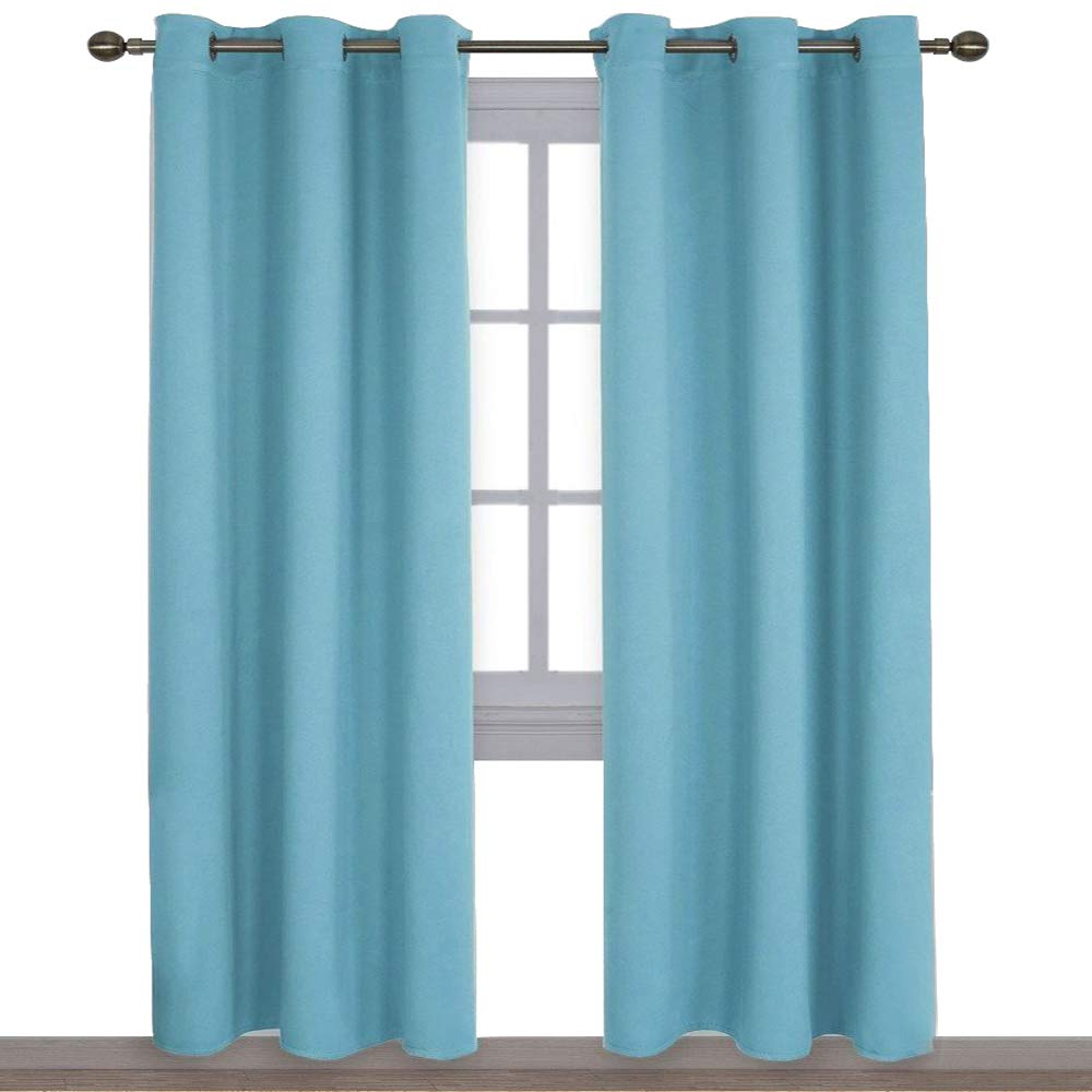 NICETOWN Window Treatment Thermal Insulated Solid Grommet Blackout Curtains/Drapes for Bedroom (Teal Blue, Set of 2 Panels,42 by 84 Inch)