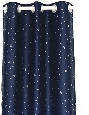 ZHH Rideau occultant à isolation thermique pour chambre enfant en bleu  marine avec motif étoiles argentées (1 pièce), Polyester, noir foncé, W ...
