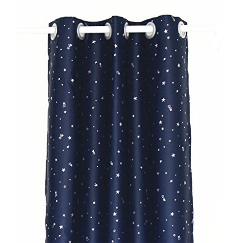 ZHH Navy with Sliver Stars Pattern Kids Room Blackout Curtain Thermal Insulated Curtain for Bedroom 40' x 52' (100cm x 130cm, 1 Piece)