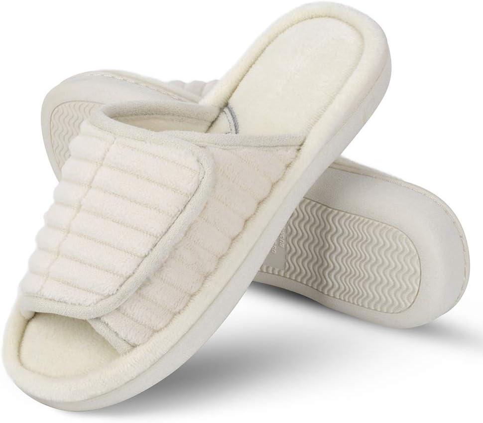 open toe adjustable slippers