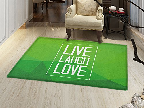 Live Laugh Love Door Mat Small Rug Triangular Polygon Background with Rectangle Frame with Motivation Bath Mat 3D Digital Printing Mat Apple Green White