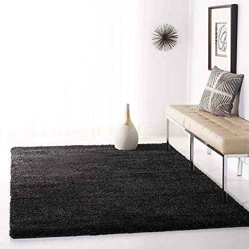 Safavieh California Premium Shag Collection SG151-9090 Black Area Rug (8' x 10') (Rug Texture Black)