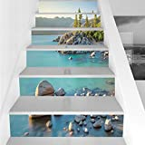 Stair Stickers Wall Stickers,6 PCS Self-adhesive,Lake,Pastoral Spring Time Scenery in Provincial Countryside Lake Beach Shallow Water Theme,Blue Grey,Stair Riser Decal for Living Room, Hall, Kids Room