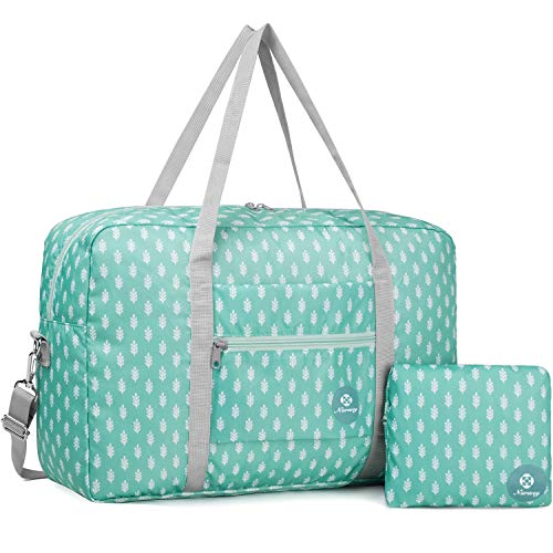 For Spirit Airlines Foldable Travel Duffel Bag Tote Carry on Luggage Sport Duffle Weekender Overnight for Women and Girls (3112 Green Leaf)