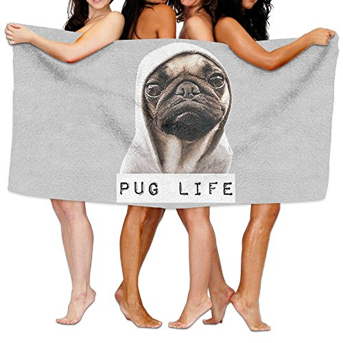 Unisex Pug Life Dogs Beach Towels Washcloths Bath Towels For Teen Girls Adults Travel Towel Pool And Gym Use 31x51 Inches Wave Medicine Cabinet