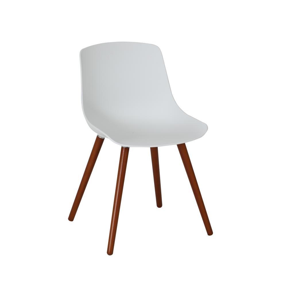greemotion 4 Stück Stuhl Halifax mit Holzbeinen, Designerstuhl mit Kunststoffschale, 52 x 81 x 58 cm, für Garten und Haus, max. 110 kg, in weiß