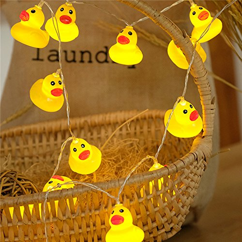 LJM 20 Led Battery Operated Lovely Christmas Yellow Duck String Lights For Indoor Outdoor Decoration For Baby Boy Girl Birthday (Yellow Duck)