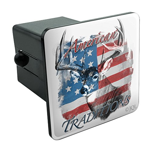 (Graphics and More Deer USA Flag American Traditions Hunting Tow Trailer Hitch Cover Plug Insert 2