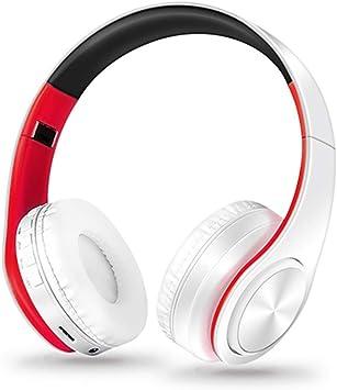 ZLAHY Auriculares Auriculares Auriculares Bluetooth Auriculares inalámbricos estéreo sobre Oreja Orejeras de Cuero Suave Micrófono Incorporado para PC/Teléfonos celulares/TV, Blanco Rojo: Amazon.es: Electrónica