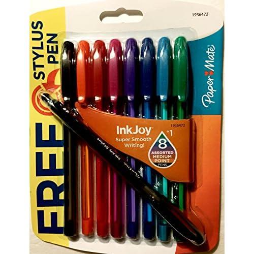 Discount 8-pen Set Various Colors. Paper Mate Ink Joy with Bonus Stylus Black Ink Pen