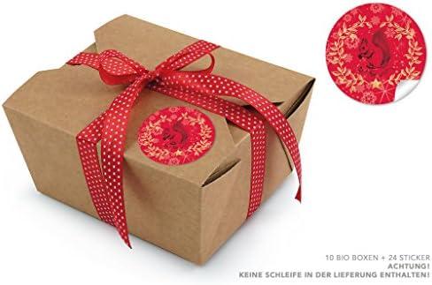 10 cajas ecológicas marrones + 24 pegatinas rojas de Navidad ...