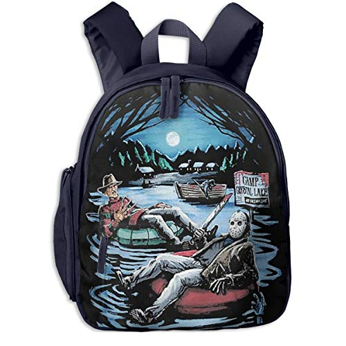 Theshy Freddy Krueger & Jason On Pool Kids Backpack Boys Girls,Appearance is Fashionable, Very Practical. -