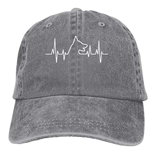 - Unisex Adjustable Baseball Cap German Shepherd Heartbeat Dad Hat Gray