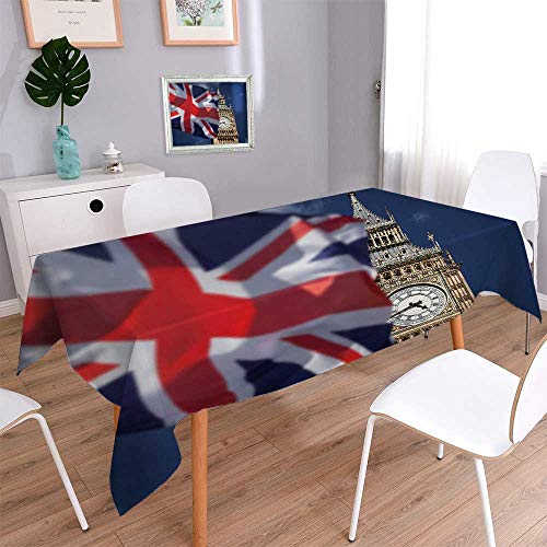 PINAFORE HOME Rectangle Polyester Tablecloth Table Cover British Union Jack Flag and Big Ben Clock Towe at City of Westminster inthe Wedding Restaurant Party Banquet Decoration/Oblong, 60 x 140 Inch ()
