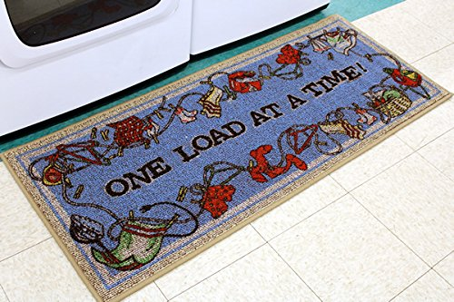 """Laundry Rug by Bacova - """"One Load At A Time"""" - 21"""" x 45"""" - Decorative Home Accent Mat / Laundry Mat"""