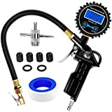 Nilight 50026R Digital Tire Inflator Pressure Gauge,250 PSI Air Chuck and Compressor Accessories Heavy Duty with Rubber Hose and Quick Connect Coupler for 0.1 Display Resolution,2 Year Warranty