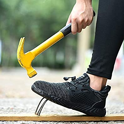 BAOLESEM Sicherheitsschuhe Herren S3 Arbeitsschuhe Herren Damen Leicht sportlich Schutzschuhe mit Stahlkappen Sneaker