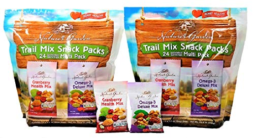 (Nature's Garden Trail Mix Snack Packs, Multi Pack 1.2 oz bags, Pack of 24, Omega-3 Deluxe Mix, Cranberry Health Mix (Pack of 2))