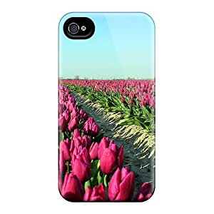 Hard Plastic Iphone 4/4s Cases Back Covers,hotcases At Perfect Tulip Field Customized