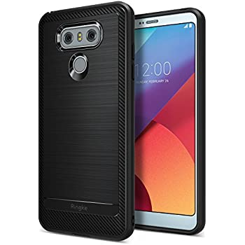 LG G6 / G6 Plus Case, Ringke [Onyx Series] [Rugged Defense] Durable Heavy Duty Silicone Rubber Brushed Metal Design Carbon Fiber Fingerprint Proof TPU Protective Case - Black