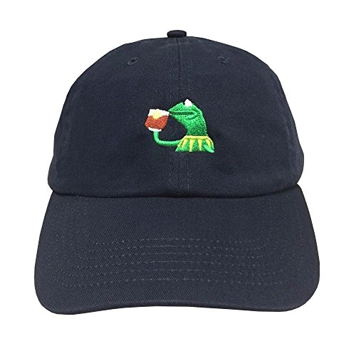 KERMIT TEA Hat StrapBack none of my business Emoji Frog James meme Cap