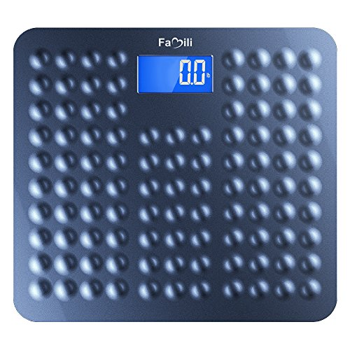 Famili 271B Bathroom Scale Digital Body Weight Scale with Non Slip Design 11lb to 400lb / 5 to 180kg, Blue by Famili