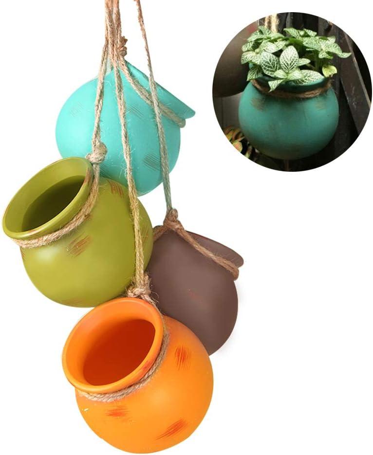 4Pcs Hanging Succulent Pots,Multicolor Ceramic Planters   Wall or Ceiling Mount Hanging Pots with Jute Rope for Succulent Plants, Air Plants, Faux Plants
