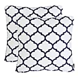 Pack of 2 Mika Home Embroidery Quatrefoil Accent Throw Pillowcase Cushion Covers for 18X18'' Inserts Cotton Fabric Navy White