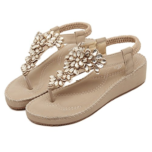 Beige Sandale Sangle Femme Dqq forme Élastique Plate Perles aT0wv