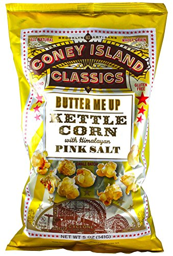Coney Island Classics Himalayan Pink Salt Butter Me Up Kettle Corn Gluten Free Non GMO Vegan Popcorn 5 Oz Large Bag (12 Count)
