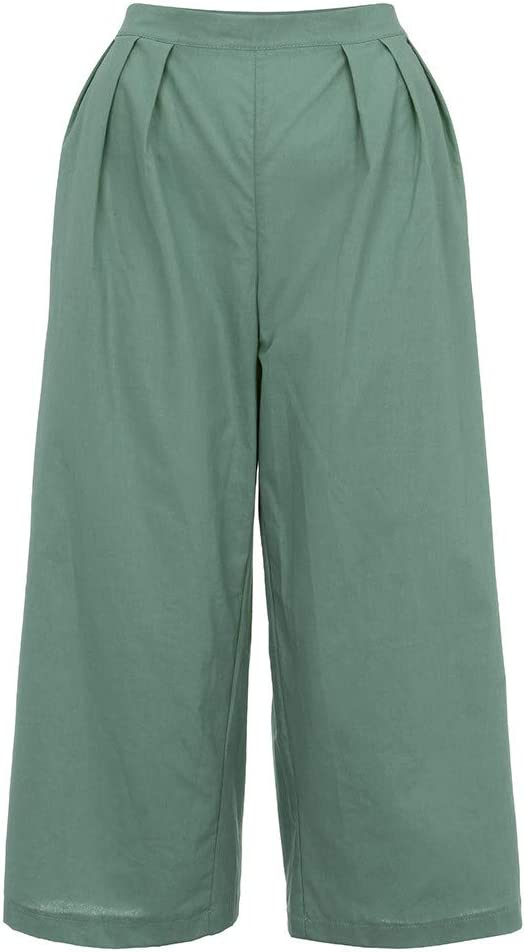Womens Cotton Linen Wide Leg Pants Solid Color Pleated Palazzo Capri Pant High Waist Lounge Trousers Comfy Loose Flowing Gaucho Pant with Pockets