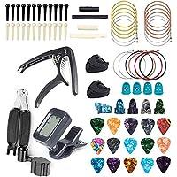 FethFire - Kit de accesorios de guitarra de 75 piezas, incluye púas de guitarra, afinador, cejilla de 3 en 1 cuerda…