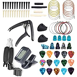 FethFire 75 PCS Guitar Accessories Kit Including Guitar Picks,Tuner,Capo,3 in 1String Winder,Acoustic Guitar Strings…